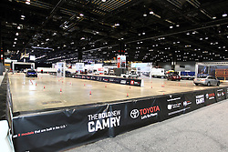 12 February 2015:   Toyota indoor test track.<br /> <br /> First staged in 1901, the Chicago Auto Show is the largest auto show in North America and has been held more times than any other auto exposition on the continent. The 2015 show marks the 107th edition of the Chicago Auto Show. It has been  presented by the Chicago Automobile Trade Association (CATA) since 1935.  It is held at McCormick Place, Chicago Illinois