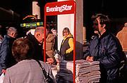 A3A9K0 Evening Star newspaper seller and stand Ipswich Suffolk England