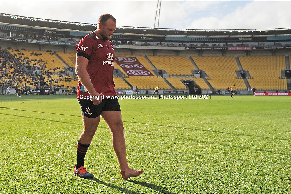 Crusaders Joe Moody leaves the field injured in the Super Rugby match, Hurricanes v Crusaders, Sky Stadium, Wellington, Sunday, April 11, 2021. Copyright photo: Kerry Marshall / www.photosport.nz