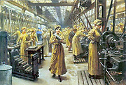 English arms factory with female workers in 1915. World War I
