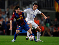 Photo: Richard Lane.<br /> Barcleona v Chelsea. UEFA Champions League, Group A. 31/10/2006. <br /> Barcelona's Lionel Messi is challenged by Chelsea's Frank Lampard.