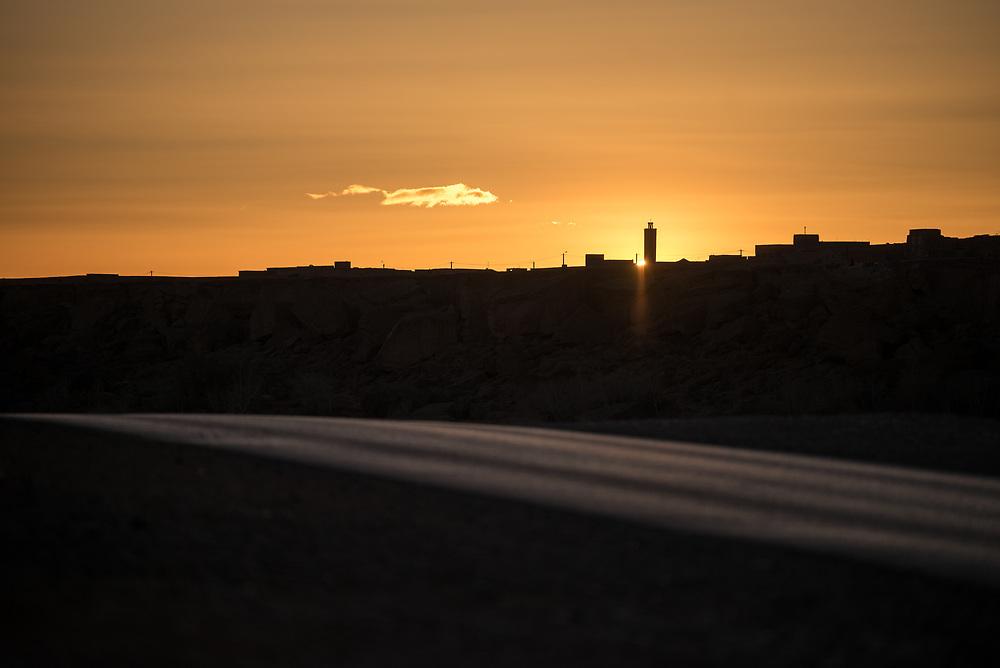 8 January 2018, Kalatemguna, Morocco: Sunset outside the town of Kalatemguna.