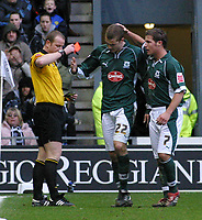 Photo: Dave Linney.<br />Derby County v Plymouth Argyle. Coca Cola Championship. 25/02/2006.Plymouth's Paul Connolly(22)  is sent off for a reckless tackle