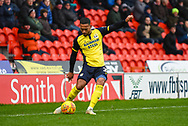 Jordan Clarke of Scunthorpe United (2) crosses the ball during the EFL Sky Bet League 1 match between Doncaster Rovers and Scunthorpe United at the Keepmoat Stadium, Doncaster, England on 15 December 2018.