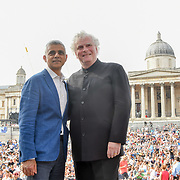 Photocall of Sadiq Khan,Sir Simon Rattle at the BMW Classics + live streamed on YouTube in Trafalgar Square on a hot weather in London, UK on July 1st 2018.