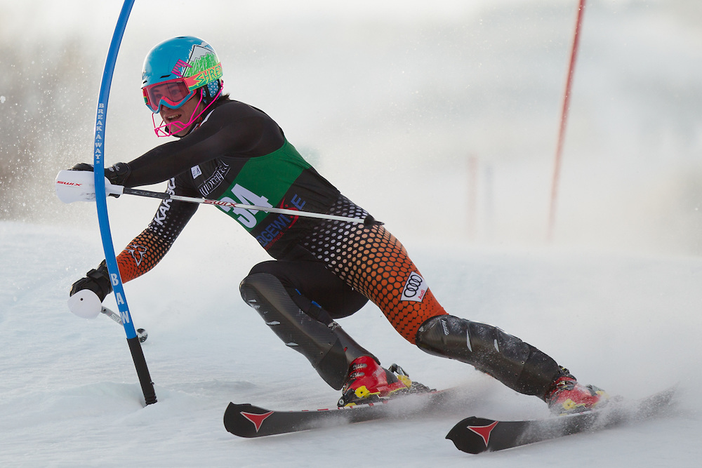 Patrick McConville, skis during the first run of the men's slalom at the Colby College Carnival at Sugarloaf Mountain on January 18, 2014 in Carabassett Valley, ME. (Dustin Satloff/EISA)