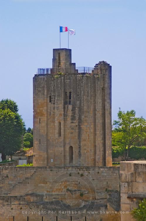 The emblematic Chateau du Roi (King's Castle) tower donjon in the Saint Emilion village Saint Emilion Village Bordeaux Gironde Aquitaine France