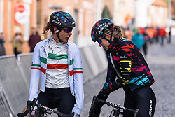 Elena Cecchini and Alexis Ryan (CANYON//SRAM) talk over a tough afternoon of racing at Dwars door de Westhoek 2016. A 127km road race starting and finishing in Boezinge, Belgium on 24th April 2016.