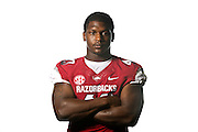 Aug 4, 2012; Fayetteville, AR, USA;  Arkansas Razorback linebacker Tenarius Wright (43) poses for a photo during media day at the Broyles Athletic Center.  Mandatory Credit: Beth Hall-US PRESSWIRE