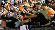 Cleveland Browns linebacker Alex Hall is mobbed by fans after intercepting a pass from Tennessee Titans quarterback Vince Young in the third quarter during a preseason NFL football game at Cleveland Browns Stadium, Saturday, Aug. 29, 2009, in Cleveland. The Browns won 23-17. (AP Photo/David Richard)