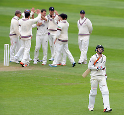 New Zealand's Doug Bracewell walks off after being dismissed by Somerset's Tim Groenewald. Photo mandatory by-line: Harry Trump/JMP - Mobile: 07966 386802 - 10/05/15 - SPORT - CRICKET - Somerset v New Zealand - Day 3- The County Ground, Taunton, England.