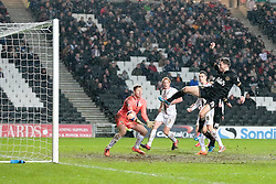 Wigan Athletic's Nick Powell scoring Wigans equaliser to take the game to extra time - Photo mandatory by-line: Nigel Pitts-Drake/JMP - Tel: Mobile: 07966 386802 14/01/2014 - SPORT - FOOTBALL - Stadium MK - Milton Keynes - MK Dons v Wigan Athletic - FA Cup - Third Round replay