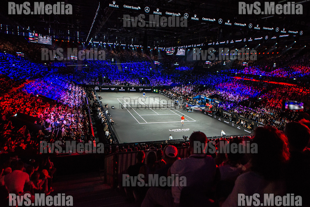 GENEVA, SWITZERLAND - SEPTEMBER 21: General view of the Centre Court during Day 2 of the Laver Cup 2019 at Palexpo on September 21, 2019 in Geneva, Switzerland. The Laver Cup will see six players from the rest of the World competing against their counterparts from Europe. Team World is captained by John McEnroe and Team Europe is captained by Bjorn Borg. The tournament runs from September 20-22. (Photo by Monika Majer/RvS.Media)