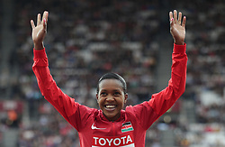 Kenya's Faith Kipyegon (gold) on the podium for the Women's 1500m during day five of the 2017 IAAF World Championships at the London Stadium. PRESS ASSOCIATION Photo. Picture date: Tuesday August 8, 2017. See PA story ATHLETICS World. Photo credit should read: Yui Mok/PA Wire. RESTRICTIONS: Editorial use only. No transmission of sound or moving images and no video simulationduring day five of the 2017 IAAF World Championships at the London Stadium. PRESS ASSOCIATION Photo. Picture date: Tuesday August 8, 2017. See PA story ATHLETICS World. Photo credit should read: Adam Davy/PA Wire. RESTRICTIONS: Editorial use only. No transmission of sound or moving images and no video simulation