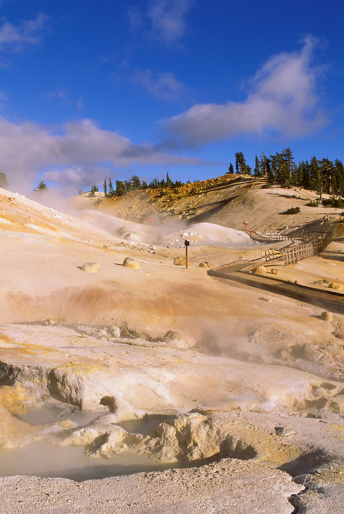 Sulphur vents and boiling pools along the boardwalk at Bumpass Hell, Cascade Mountains (Pacific Ring of Fire), Lassen Volcanic National Park, California