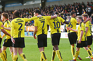 Burton Albion forward Lucas Akins (10) scores a penalty 3-3 and celebrates during the EFL Sky Bet League 1 match between Burton Albion and Accrington Stanley at the Pirelli Stadium, Burton upon Trent, England on 23 March 2019.