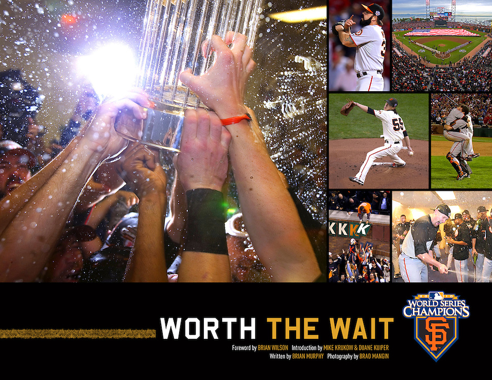 Worth the Wait (signed by Brad Mangin)<br /> <br /> $100 plus shipping<br /> <br /> The ultimate keepsake and a must-have collectible for fans of all ages, this book allows readers to relive the greatest and most surprising, satisfying, and unforgettable season in San Francisco Giants history. From Spring Training to the stretch run through the playoffs and the 2010 World Series this treasury of exclusive photos by photographer Brad Mangin and stories by Brian Murphy transports Giants fans inside the action and behind the scenes of this special season.