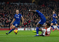 Football - 2018 / 2019 Premier League - Arsenal vs. Chelsea<br /> <br /> Pierre-Emerick Aubameyang (Arsenal FC) battles with Antonio Rudiger (Chelsea FC)  to reach the ball and extend his treams lead at The Emirates.<br /> <br /> COLORSPORT/DANIEL BEARHAM