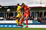 Luton Town defender Sonny Bradley (5) and Bristol Rovers attacker Stefan Payne (9) battle for possession during the EFL Sky Bet League 1 match between Luton Town and Bristol Rovers at Kenilworth Road, Luton, England on 15 September 2018.