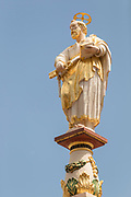 Low angle view of statue of saint in Trier, Germany
