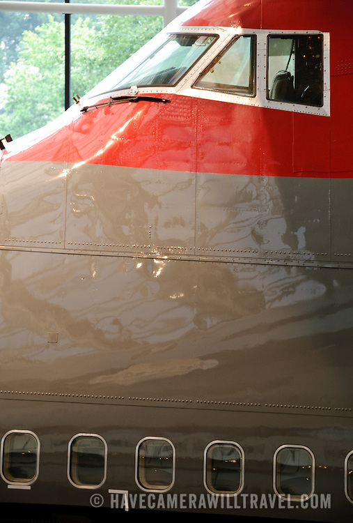 The nose of a Boeing 747 on display at the Smithsonian's National Air and Space Museum in Washington, DC