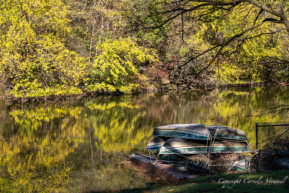 Idle rowboats at The Lake in Central Park