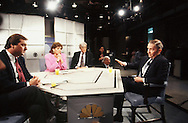 Ross Perot in an interview with Tim Russert and Al Hunt in September 1992..Photograph by Dennis Brack BBBs 20