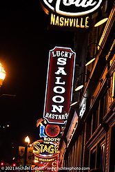 Neon signs of bars on Broadway in Nashville, TN, USA. Monday, May 24, 2021. Photography ©2021 Michael Lichter.