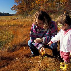 "A woman and her daughter explore the edge of a New Hampshire salt marsh. Tidal marsh.  ""Massacre Marsh."" Rye, NH"