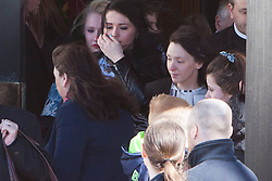 © Licensed to London News Pictures. 17/04/2014. Edinburgh, Scotland. Abbie Wallis, Keane's Mother attended the Funeral. Keane Wallis Bennett funeral took place today at Morton Hall Crematorium Edinburgh.12-year-old Keane Wallis-Bennett, died after a wall fell on her at Liberton High School in Edinburgh. Photo credit : Duncan McGlynn/LNP