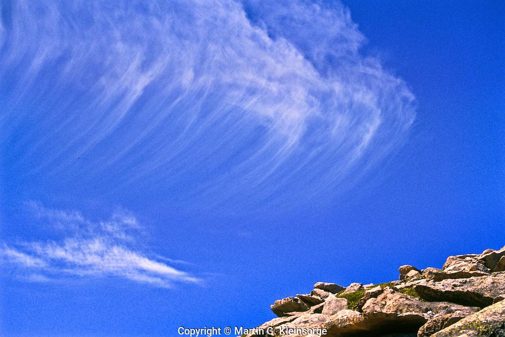 Cirrus uncinus clouds or mares' tails over Colorado.