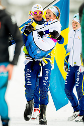 February 3, 2018 - Goms, SWITZERLAND - 180203 Johanna HagstrÅ¡m of Sweden is carried by Mattias Nilsson, coach, after the women's 4x3,3 km relay during the FIS Nordic Junior World Ski Championships on February 3, 2018 in Obergoms..Photo: Vegard Wivestad GrÂ¿tt / BILDBYRN / kod VG / 170098 (Credit Image: © Vegard Wivestad Gr¯Tt/Bildbyran via ZUMA Press)