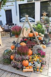Hallowe'en decoration outside flower shop, Orleans, France 2021