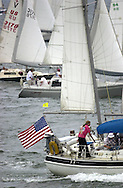 KEVIN BARTRAM/The Daily News.Sailboats get into position for the start of the Harvest Moon Regatta on Thursday. The 153-mile race started near the Flagship Hotel and will end at Aransas Pass.
