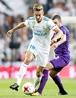 Real Madrid's Marcos Llorente (l) and ACF Fiorentina's Giovanni Simeone during Santiago Bernabeu Trophy. August 23,2017. (ALTERPHOTOS/Acero)