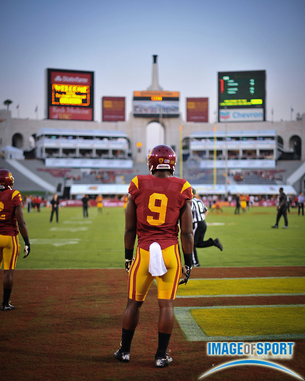 Sep 5, 2015; Los Angeles, CA, USA; Southern California Trojans wide receiver Juju Smith-Schuster (9) looks onto the field before the game against the Arkansas State Red Wolves at Los Angeles Memorial Coliseum. Photo by Ed Ruvalcaba