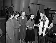 """15/02/1953<br /> 02/15/1953<br /> 15 February 1953<br /> Radio Eireann """"Question Time"""" general-knowledge quiz show trial at the Phoenix Hall, Dublin. Eric Boden on right."""