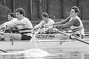 London. United Kingdom.  1987 Pre Fixture, Varsity Boat Race. National Squad vs Cambridge University BC on the Championship Course Mortlake to Putney. River Thames.  Saturday 21.03.1987<br /> <br /> [Mandatory Credit: Peter SPURRIER/Intersport images]<br /> <br /> National Squad, Bow, Terry Dillon, John MAXEY, <br /> <br /> CUBC.  Crew Bow. Ian CLARKE, Richard SPINK, 19870321 Pre Boat Race fixture, National Squard vs Cambridge UBC, London UK