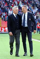 """Foto LaPresse/Filippo Rubin<br /> 25/05/2019 Bologna (Italia)<br /> Sport Calcio<br /> Bologna - Napoli - Campionato di calcio Serie A 2018/2019 - Stadio """"Renato Dall'Ara""""<br /> Nella foto: CARLO ANCELOTTI (ALLENATORE NAPOLI) E SINISA MIHAJLOVIC (ALLENATORE BOLOGNA F.C.)<br /> <br /> Photo LaPresse/Filippo Rubin<br /> May 25, 2019 Bologna (Italy)<br /> Sport Soccer<br /> Bologna vs Napoli - Italian Football Championship League A 2018/2019 - """"Dall'Ara"""" Stadium <br /> In the pic: CARLO ANCELOTTI (NAPOLI'S MANAGER) AND SINISA MIHAJLOVIC (BOLOGNA'S TRAINER)"""