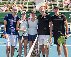 November 5, 2017 - Delray Beach, Florida, US - Actor TIM OLYPHANT, Tennis Pro CICI BELLIS, Umpire CHRIS EVERT, Tennis Pro PATRICK McENROE and Actor SCOTT FOLEY (l to r) before their doubles match at the Delray Beach Stadium and Tennis Center in Florida during the 2017 Chris Evert/ Raymond James Pro-Celebrity Tennis Classic. Chris Evert Charities has raised more than $23 million in an ongoing campaign for Florida's most at-risk children. (Credit Image: © Arnold Drapkin via ZUMA Wire)