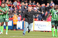 fan invades the pitch during the Sky Bet League 2 match between Stevenage and AFC Wimbledon at the Lamex Stadium, Stevenage, England on 30 April 2016. Photo by Stuart Butcher.