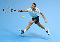 Grigor Dimitrov during day seven of the NITTO ATP World Tour Finals at the O2 Arena, London.