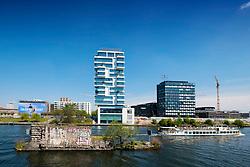 New luxury high-rise apartment building built beside Berlin Wall on River Spree in Friedrichshain Berlin Germany