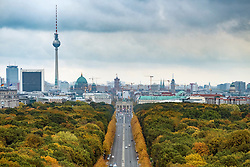 Skyline of Berlin across Tiergarten Park during autumn , Germany