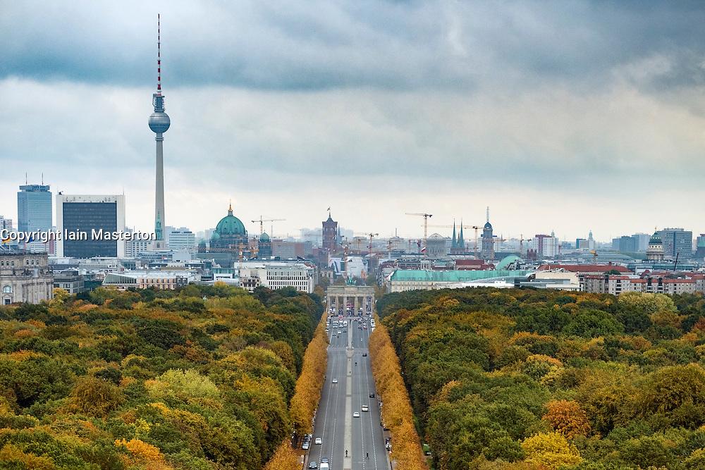 Skyline of Berlin across Tiergarten Park during autumn , Germany