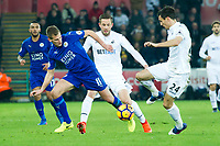 Football - 2016 / 2017 Premier League - Swansea City vs. Leicester City<br /> <br /> Marc Albrighton of  Leicester City & Angel Rangel of Swansea, at The Liberty Stadium.<br /> <br /> COLORSPORT/WINSTON BYNOTH