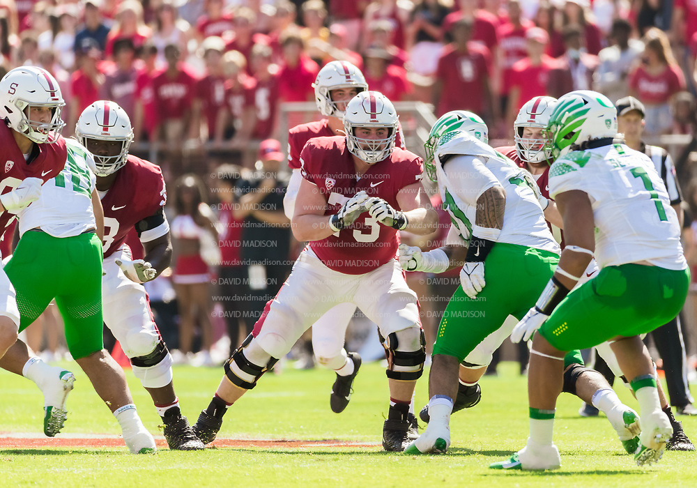PALO ALTO, CA - OCTOBER 2:  Jake Hornibrook #73 of the Stanford Cardinal blocks during an NCAA Pac-12 college football game against the Oregon Ducks on October 2, 2021 at Stanford Stadium in Palo Alto, California.  (Photo by David Madison/Getty Images)