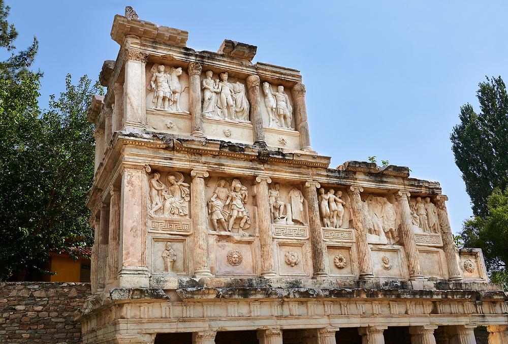 Sebasteion sanctuary building ruins and relief panels,  Aphrodisias Archaeological Site, Aydin Province, Turkey.