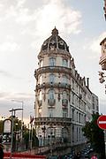 Unique architecture in Rua Visconde da Luz Pedestrian street in Coimbra, Portugal