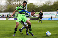 Forest Green Rovers Omar Bugiel(11) battles for the ball during the Vanarama National League match between Forest Green Rovers and Chester FC at the New Lawn, Forest Green, United Kingdom on 14 April 2017. Photo by Shane Healey.